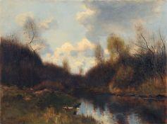Johannes Cornelis van Essen, Herbstliche Flusslandschaft. Wohl 1880er Jahre. Öl auf Leinwand.