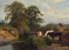 """Charles II Collins, Rastende Kühe am sommerlichen Flusslauf. 1882. Öl auf Leinwand. Signiert """""""