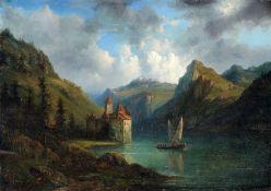 Jacobus H. J. Nooteboom, Alpenlandschaft mit See und Burg. Mitte 19. Jh. Öl auf Holz. Auf dem