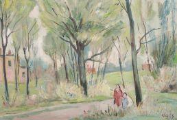 """Walter Bodenthal, Frühling im Park / """"Alte Landstraße mit Obstbäumen"""". 1958 /1959. Öl auf"""