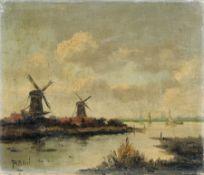 Jurrien Marinus Beek, Holländische Landschaft mit Windmühlen. Frühes 20. Jh. Öl auf Leinwand.