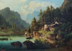 """Albert Rieger d.Ä., Pragser Wildsee in Südtirol. 1869. Öl auf Leinwand. Signiert """"Alb. Rieger"""","""