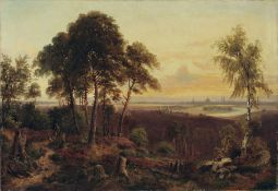 Hugo Mühlig, Blick auf Dresden im Abendlicht vom Wolfshügel aus. 1870er Jahre.Öl auf Leinwand.