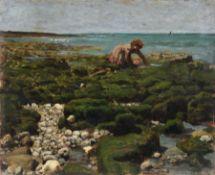 Pierre Billet, Kleine Krabbenfischerin am Strand von Yport (?), Normandie. 1875. Öl auf Leinwand.
