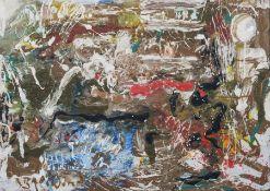 """Rudolf Baerwind """"Abfälle"""". Wohl 1960er Jahre. Öl auf Leinwand. Signiert u.li. """"R. Baerwind"""". Verso"""