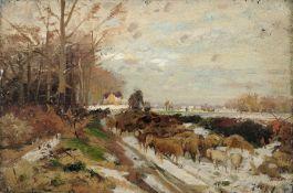 Hugo Mühlig, Winterlandschaft mit Schäfer und Schafherde. 1881 oder 1884. Öl auf Leinwand,