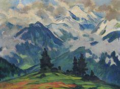 """Erich Fraaß, Alpenlandschaft. 1. H. 20. Jh. Öl auf Leinwand. Geritzt signiert """"Erich Fraaß"""" u.li. In"""