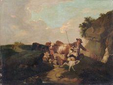 Deutscher Künstler, Hirte mit Schafen und Kühen. 2. H. 19. Jh. Öl auf Leinwand, auf Holz aufgezogen.