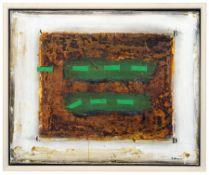 """James Coignard """"Vert syncopé"""" [?] (Synkopiertes Grün). 1980er Jahre.Mischtechnik auf textilem"""
