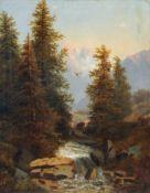 August Lang, Blick auf ein Schweizer Bergmassiv. 2. H. 19. Jh. Öl auf Leinwand. Schwer lesbar