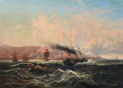 Léon Jean-Baptiste Sabatier, Rettung aus Seenot vor der Küste von Algier. 1849. Öl auf Leinwand.