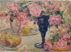 Richard Paul Burkhardt-Untermhaus, Stillleben mit Rosen und Äpfeln. Wohl 2. Viertel 20. Jh. Öl auf