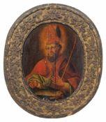 Deutscher Maler, Der Heilige Benno von Meißen. 18. Jh. Öl auf Holz. Unsigniert. Mit einem