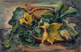 """Willi Geiger, Stillleben mit Kürbisblüten. 1930. Öl auf Leinwand. Signiert """"Geiger"""", bezeichnet """""""