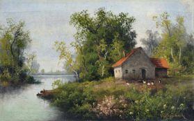 """Minna Bachmann, Gehöft am Fluss. Um 1880. Öl auf Leinwand. Signiert """"M. Bachmann"""" u.re. In einer"""
