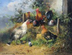 """Julius Scheuerer, Wiesenstück mit Truthahn, Hahn und Hühnern. 2. H. 19. Jh. Öl auf Holz. Signiert """""""