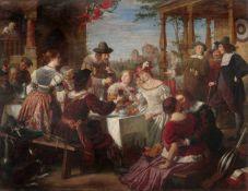 """Adolf Wichmann """"Ein Gastmahl bei Rembrandt"""". Um 1866.Öl auf Leinwand. Unsigniert. Im vergoldeten,"""