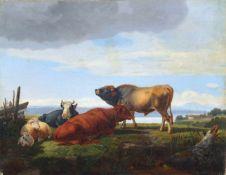 """Friedrich Carl Joseph Simmler """"Viehstück mit Stier, zwei Kühen und Schafen"""". 1831. Öl auf"""