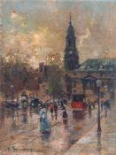 """Gustav Adolf Thamm """"Die Kreuzkirche vor dem Brande"""" (Dresden). 1896. Öl auf Papier, auf Malpappe"""