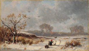 Adolf Stademann, Winterlandschaft mit heimkehrenden Bauern. Mitte 19. Jh. Öl auf Leinwand.