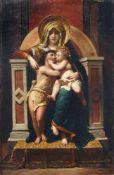 """H. Ballheim, Thronende Madonna mit Jesus und Johannes. Um 1850-1880. Öl auf Leinwand. Signiert """"H."""