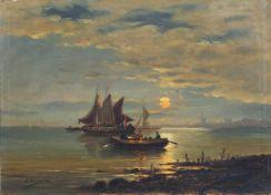 C. Lucas, Holländische Küstenlandschaft mit Segelbooten und Windmühlen. 1882. Öl auf Leinwand.