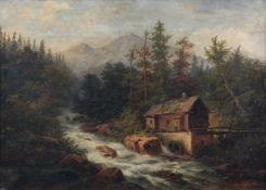 """Johanna Wolf, Landschaft mit Wassermühle. 1887. Öl auf Leinwand. Signiert """"Johanna Wolf und"""