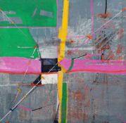 Andreas Bliemel, Komposition vor Grau. 1986. Öl, Sand und Geschenkband auf Hartfaser. Auf Holzbalken