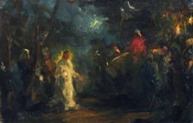 Deutscher Künstler, Jesus im Garten Gethsemane. Wohl spätes 19. Jh. Öl auf Leinwand, auf Hartfaser