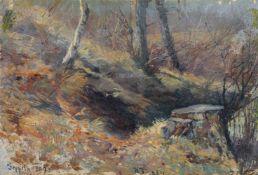 """Karl Hanns Taeger, Waldstück bei Goppeln. 1892. Öl auf Leinwand, auf Pappe kaschiert. Signiert """"H"""