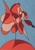 """Erich Gerlach """"Schwebende Form"""". Um 1990. Tempera auf grauem Karton. Verso in Kugelschreiber"""