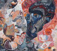 """Leonore Adler """"im Gegenlicht"""". 1990. Acryl und Latex auf leichtem Karton. U.li. signiert """"Leo"""" und"""