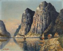 "H. F. Elmblad ""Hardanger Fjord"". Wohl um 1900. Öl auf Leinwand. Signiert ""H. Elmblad"" u.li. Verso"