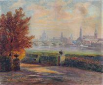 Ermenegildo Carlo Donadini, Blick vom Japanischen Palais auf die Altstadt von Dresden. Wohl 1920er