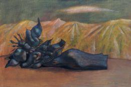 Karen Aghamian, Blauer Akt. 1990. Öl auf Leinwand. Kyrillisch signiert und datiert u.re. Verso