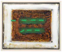 """James Coignard """"Vert syncopé"""" [?] (Synkopiertes Grün). 1980er Jahre. Mischtechnik auf textilem"""
