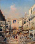 """Robert Alott, Belebter Platz in einem apulischen Dorf. 1891. Öl auf Leinwand. Signiert """"R. Alott"""""""