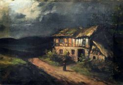 Deutscher Maler, Nächtliche Landschaft mit Fachwerkhaus. Mitte 19. Jh. Öl auf Leinwand. U.li.