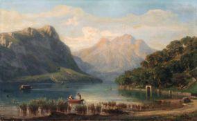 """Eduard Friedrich Pape, Gebirgssee in den Alpen. Spätes 19. Jh. Öl auf Leinwand. Signiert """"E. Pape"""""""