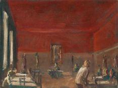 """Georg Eisler """"Rotes Gasthaus"""". 1981. Öl auf Leinwand, auf Pappe kaschiert. Signiert o.re. """"Eisler"""""""
