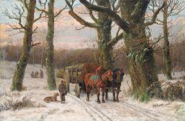 """Caesar Bimmermann, Abendliche Winterlandschaft mit Holzfuhrwerk. 1879. Öl auf Leinwand. Signiert """"C."""