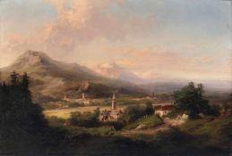 """C.G. Bruns """"Partie aus dem Salzachthal"""". Mitte 19. Jh. Öl auf Leinwand. Unsigniert. Verso auf"""
