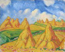 """Richard Dreher, Landschaft mit Kornpuppen. 1915. Öl auf Leinwand. Signiert """"Dreher"""" und datiert u."""
