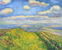 Richard Dreher, Landschaft mit Blick über Rockau. 1912. Öl auf Leinwand. Unsigniert. Verso ein