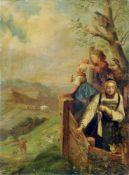 """Adrian Ludwig Richter """"Guck in die weite weite Welt"""". 1859. Öl auf Leinwand. In Rot signiert """"L."""