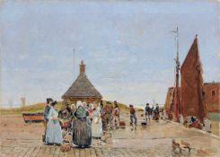 """Hans von Bartels, Fischmarkt am Hafen. Um 1900. Öl auf Leinwand. Signiert """"H. Bartelsen"""" und"""