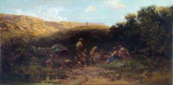 """Carl Spitzweg """"Lagernde Karrner (Rast der Streuner)"""". Um 1870-1875. Öl auf zweischichtiger"""