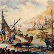 Claude Joseph Vernet (ausschnitthafte Kopie nach), Belebte Küstenszene. Wohl 19. Jh.
