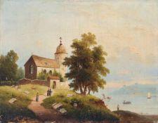 Unbekannter Künstler, Ruine einer kleinen Kirche am See. 2. H. 19. Jh. Öl auf Leinwand.