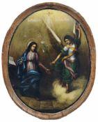 Russischer Maler, Verkündigung an Maria. Wohl 18. Jh. Öl auf gewölbter Holztafel, im Oval.